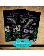 Mardi Gras Feather Black Invitations