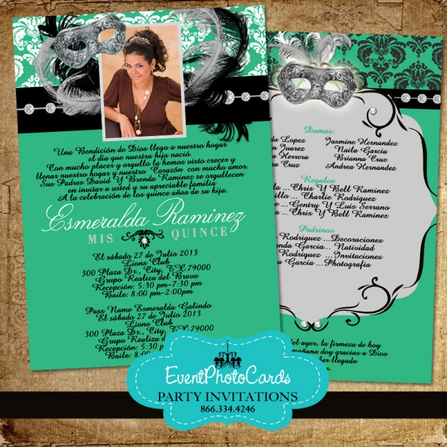 Mint Green Masquerade Invitations - Quinceanera- Sweet 15 ...