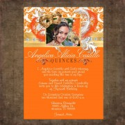 Orange Masquerade Quinceanera invitations