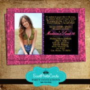 Pink Mardi Gras Masquerade Photo Invitations
