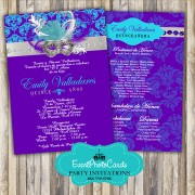 Purple and Aqua Mask Quincenera Invitations