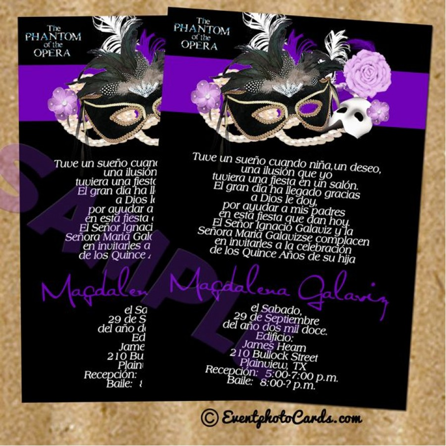 Purple Phantom of the Opera invitation Cards #3