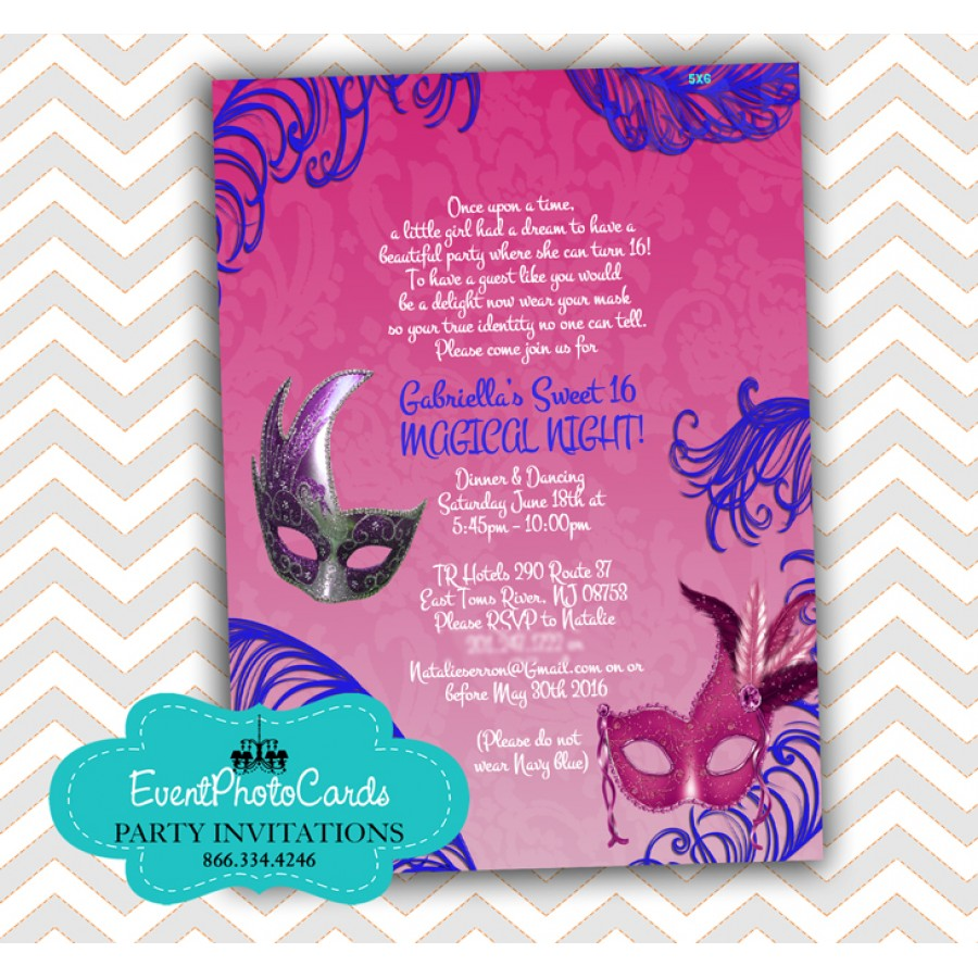 pink purple mask invitations 15 mis quince anos xv invitations