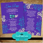 Purple & Aqua Mask Quinceanera  Invitations