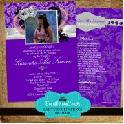 Purple Silver Masquerade Invitations