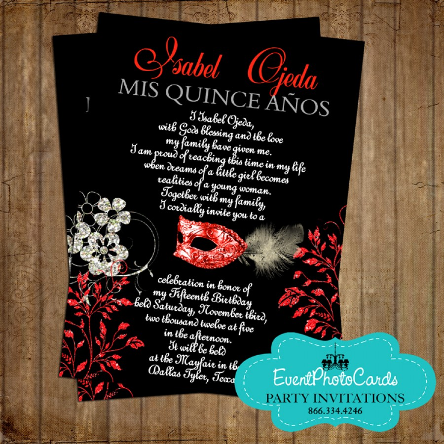 red black mask invitations announcements for any event