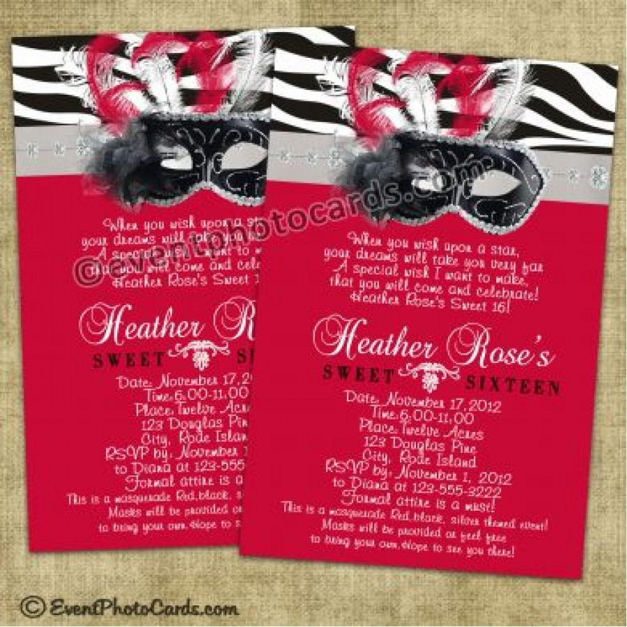 Red Zebra Sweet 16 Invitations Masquerade Invites