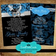 Masquerade Quinceanera Invites Royal Blue