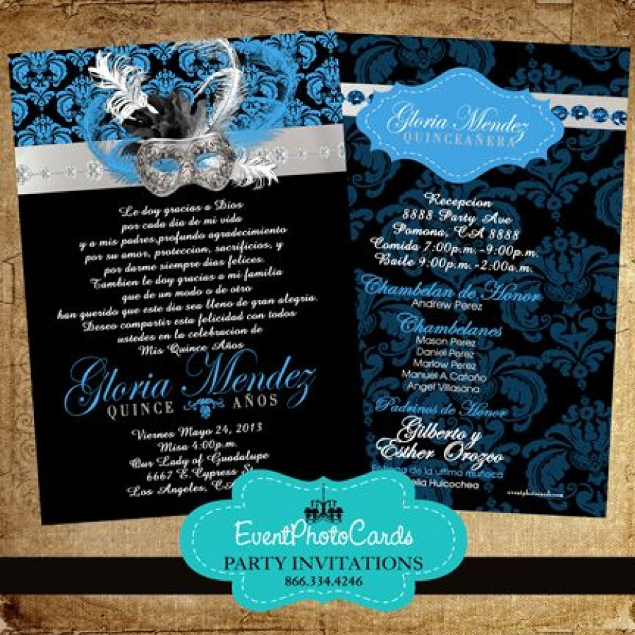 masquerade royal blue sweet fifteen invitations  quinceanera