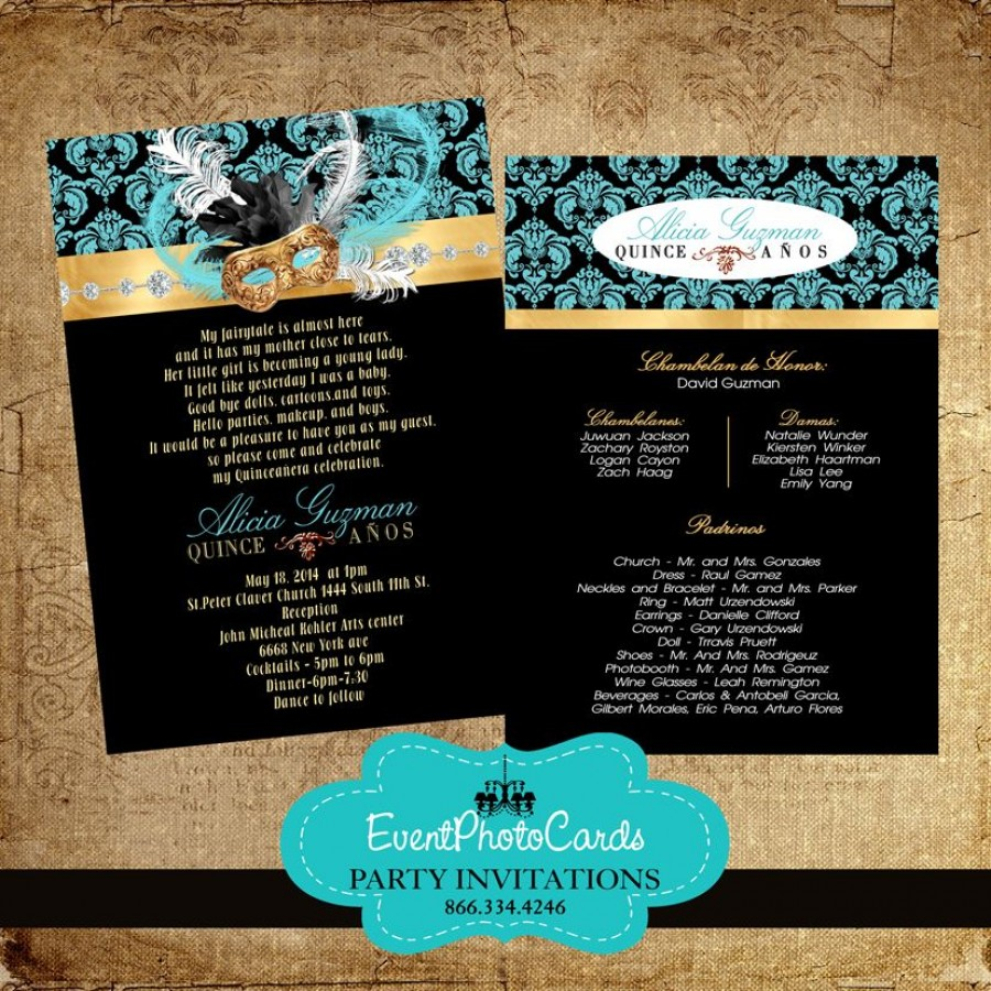 Masquerade Teal Green Sweet Fifteen Invitations Quinceanera