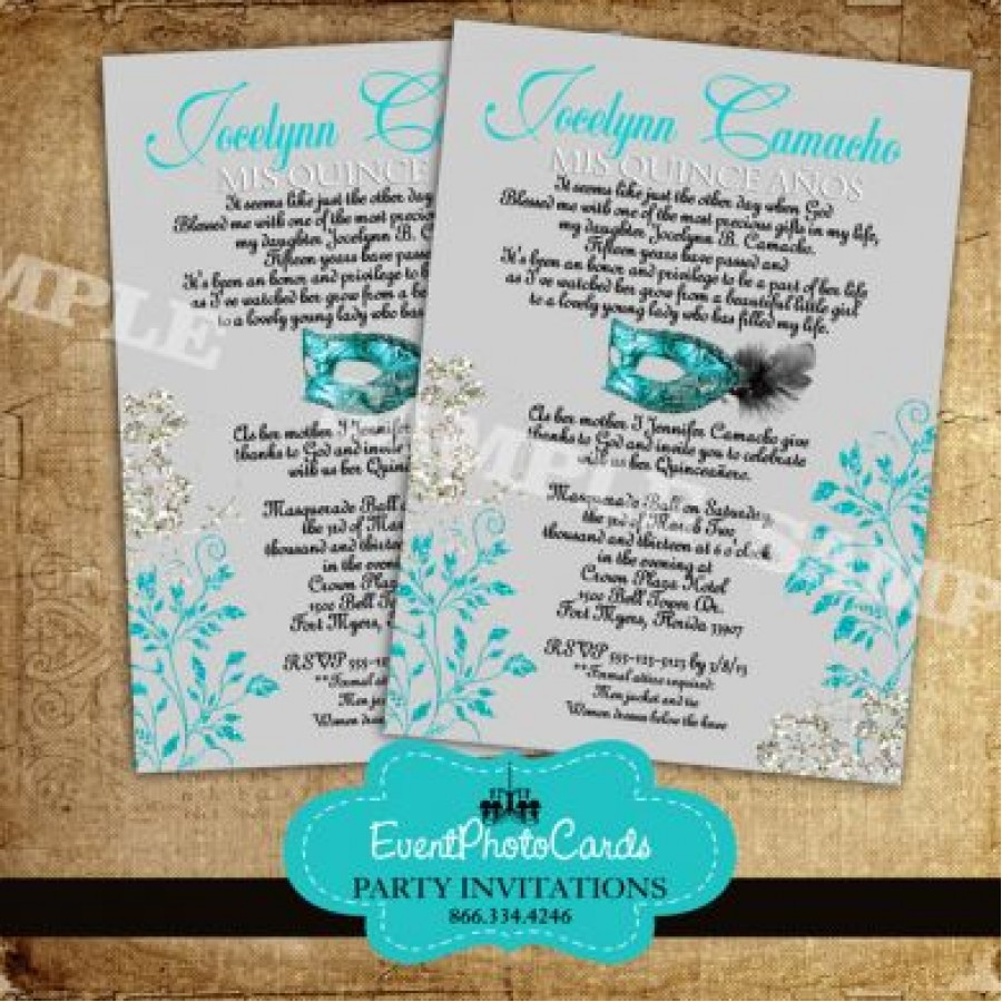 Turquoise And Silver Quinceanera Mask Invitations