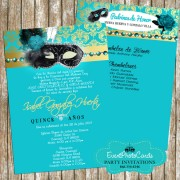 Teal & Gold Masquerade Invitations