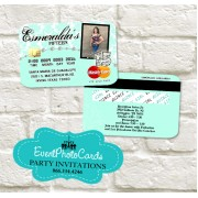 Damask Elegant Credit Card  - Mint Color Invitations
