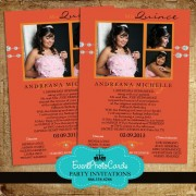 Orange Modern Quinceanera Photo Invitations