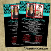 Teal & Red Quinceanera Damask  Invitations