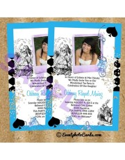 Alice in Wonderland Invitations Blue Quinceanera
