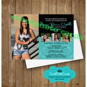 Damask Elegant Quinceanera Invitations - Teal