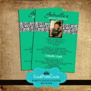 Green Damask Sweet 16 Invitation