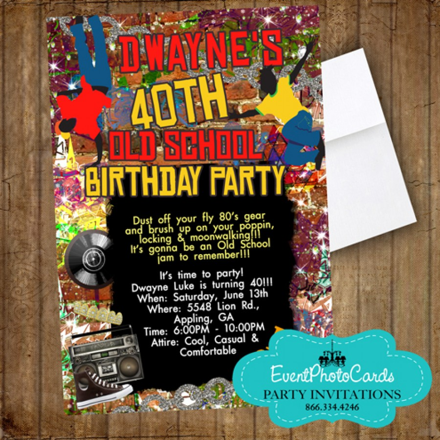 old school birthday party invitations