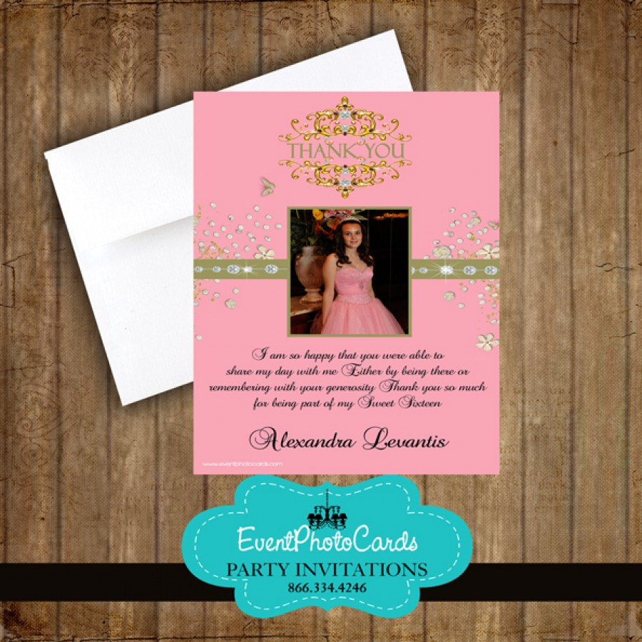 Pink Gold Thank You Card Quinceanera