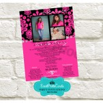 Damask Pink & Black Quinceanera Announcement