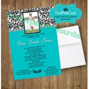 Damask Teal Sweet 15 Photo Invitation -A