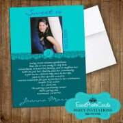 Teal Sweet 16 Photo Invitations