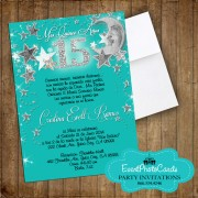 Stars & Moon Turquoise Quinceanera Invitations