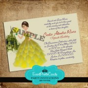 Yellow Quinceañera Invitations with Doll