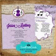 Music Band Quinceanera Invitations - Violin Purple