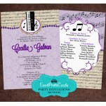 Music Band Quinceanera Invitations - Piano Purple