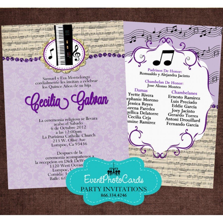 Change colors! Buy Our quinceanera invites! Music Band ...