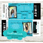 Turquoise Blue Music Notes Invitations