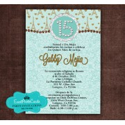 Light Teal Paris Invitation - Eiffel Tower