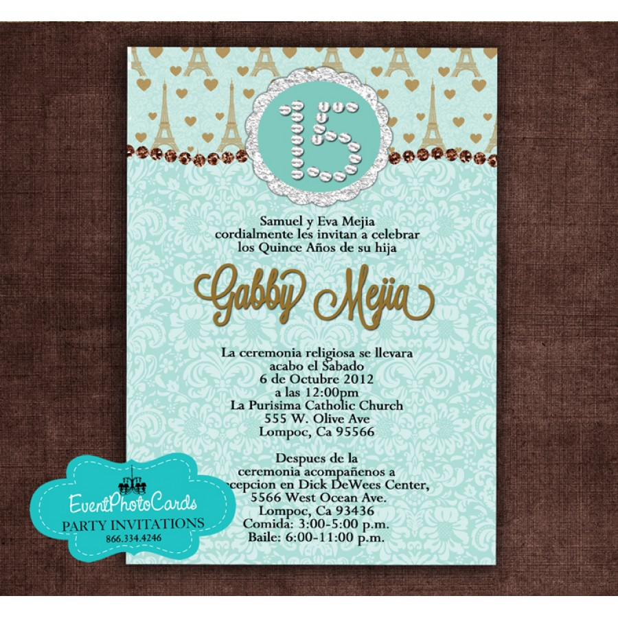 Order this light teal paris invitation eiffel tower quinceanera light teal paris invitation eiffel tower filmwisefo