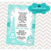 Paris Teal Quinceanera Invitation - Eiffel Tower
