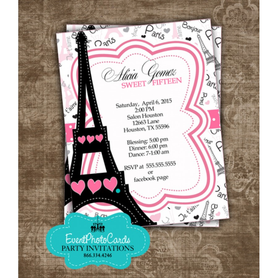 Paris Themed Sweet Fifteen, Customized & Personalized Pink ...