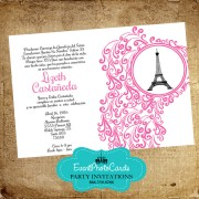 Pink Floral  - Eiffel Tower Invitations - Paris