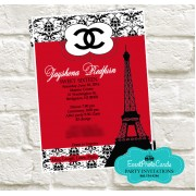 Paris Chanel Quinceanera Invites - Red & Black