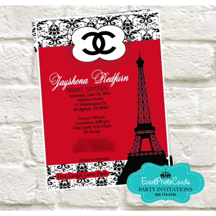 Paris Chanel Quinceanera Invites Fashion Couture Red Black