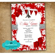 Paris Red Roses Quinceanera Invitations - Eiffel Tower