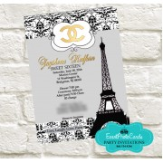 Paris Chanel Quinceanera Invites - Silver Gold Edition
