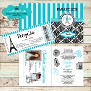 Aqua Turquoise Paris Eiffel Tower  Passport  Quinceanera Invitations