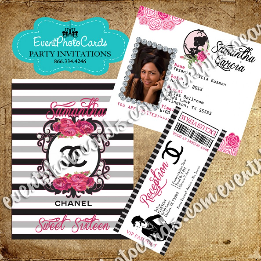 Coco Chanel Lover Passport Invite With Ticket Reception Pass