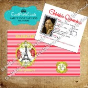 Stripes Coral & Gold Passport  Quinceanera Invitations