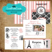 Coral Paris Eiffel Passport  Quinceanera Invitations