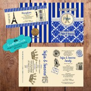 Gold & Royal Blue Eiffel Passport  Quinceanera Invitations
