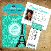 Paris Mint Green Passport Quinceanera Invitations