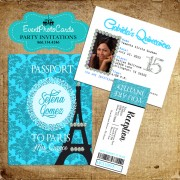 Paris Turquoise Passport Quinceanera Invitations