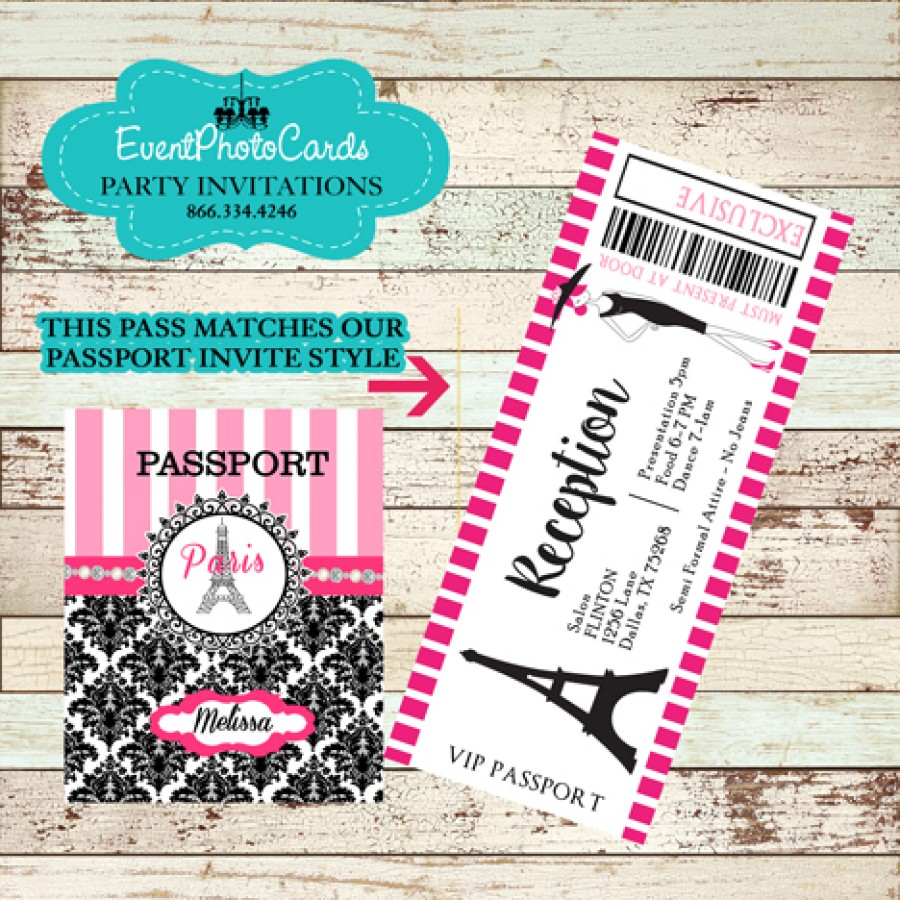 Pink Damask Passport Paris Invitations For Sweet 16 Or 15